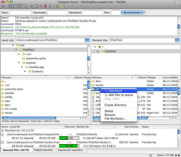 FTP-CLient: FileZilla für Mac OS X