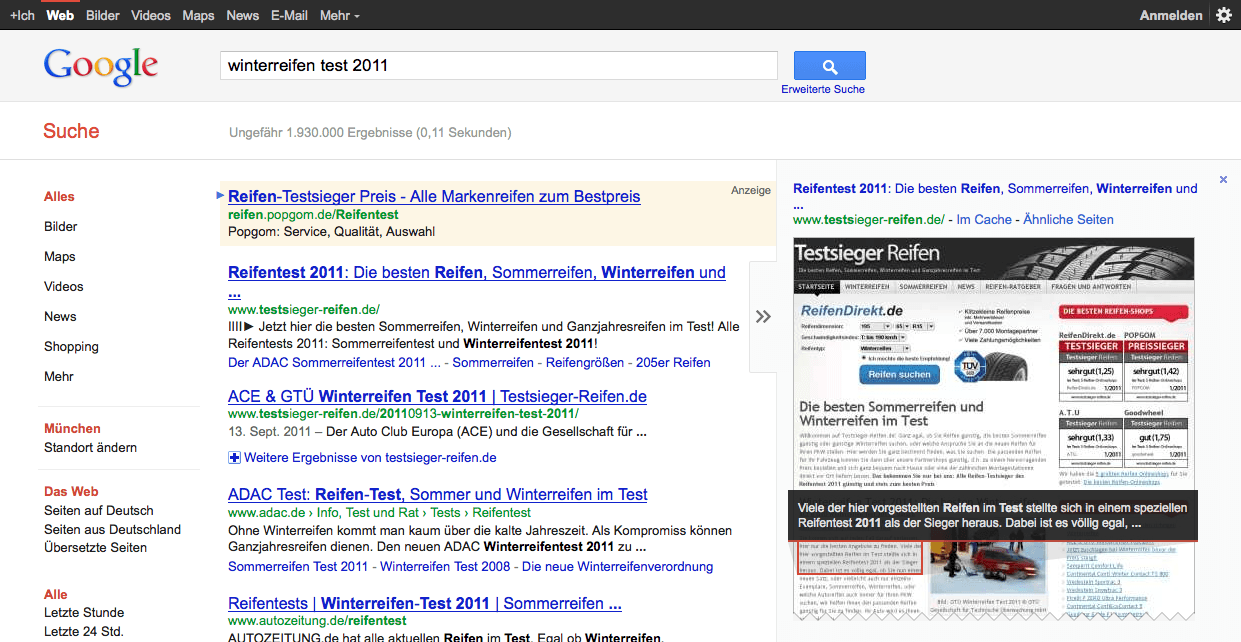 Neues Instant Preview - Google SERP