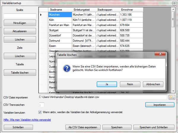 Variablen aus CSV Datei importieren