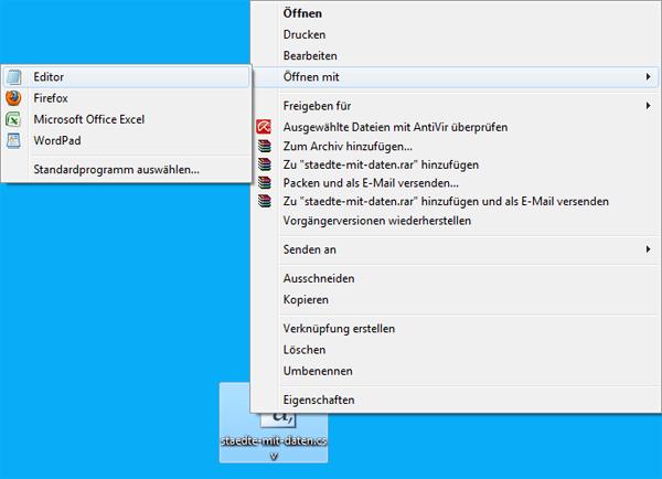 CSV Datei im Windows Editor öffnen