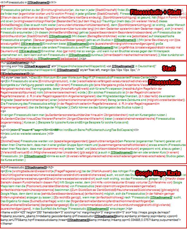 Verschiedene Bereiche im gespinnten Text