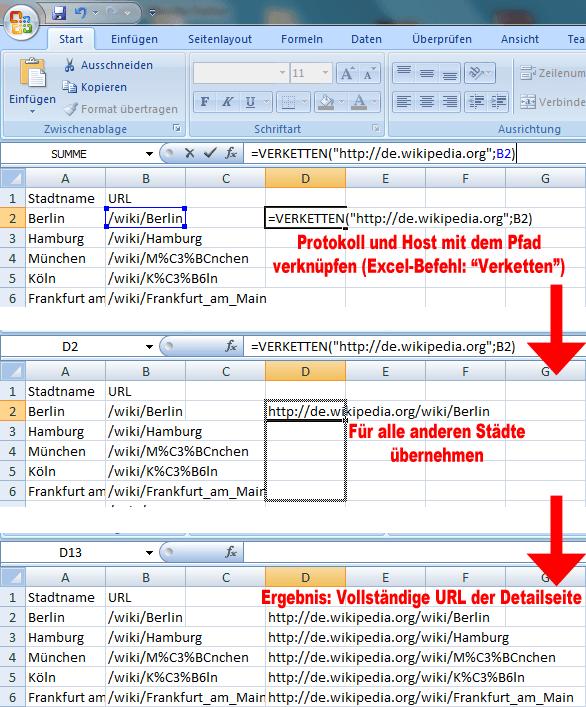 Relative URLs mit Hilfe von Excel auflösen