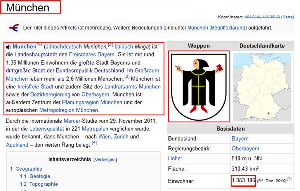 Scraping-relevante Informationen der Wiki-Seite von München