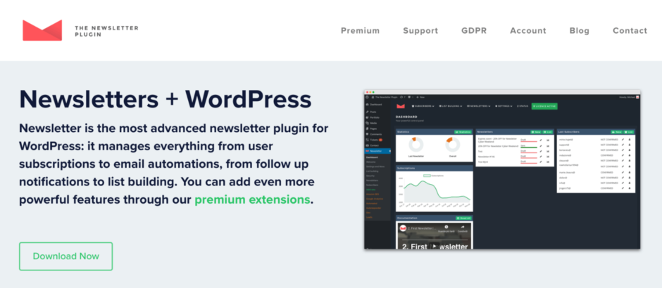 The Newsletter Plugin - Newsletter is the most advanced newsletter plugin for WordPress.