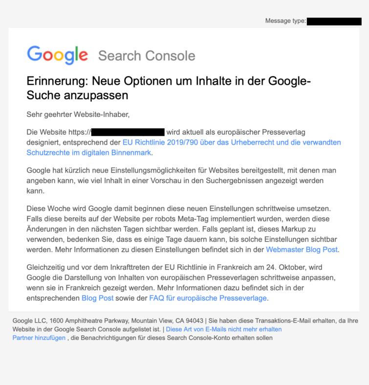 Erinnerung Neue Optionen um Inhalte in der Google-Suche anzupassen