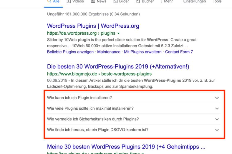 Google Suchergebnisseite zum Keyword WordPress Plugins in der Desktop-Suche