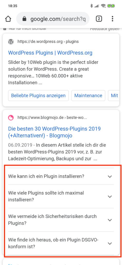 Google Suchergebnisseite zum Keyword WordPress Plugins in der mobilen Suche
