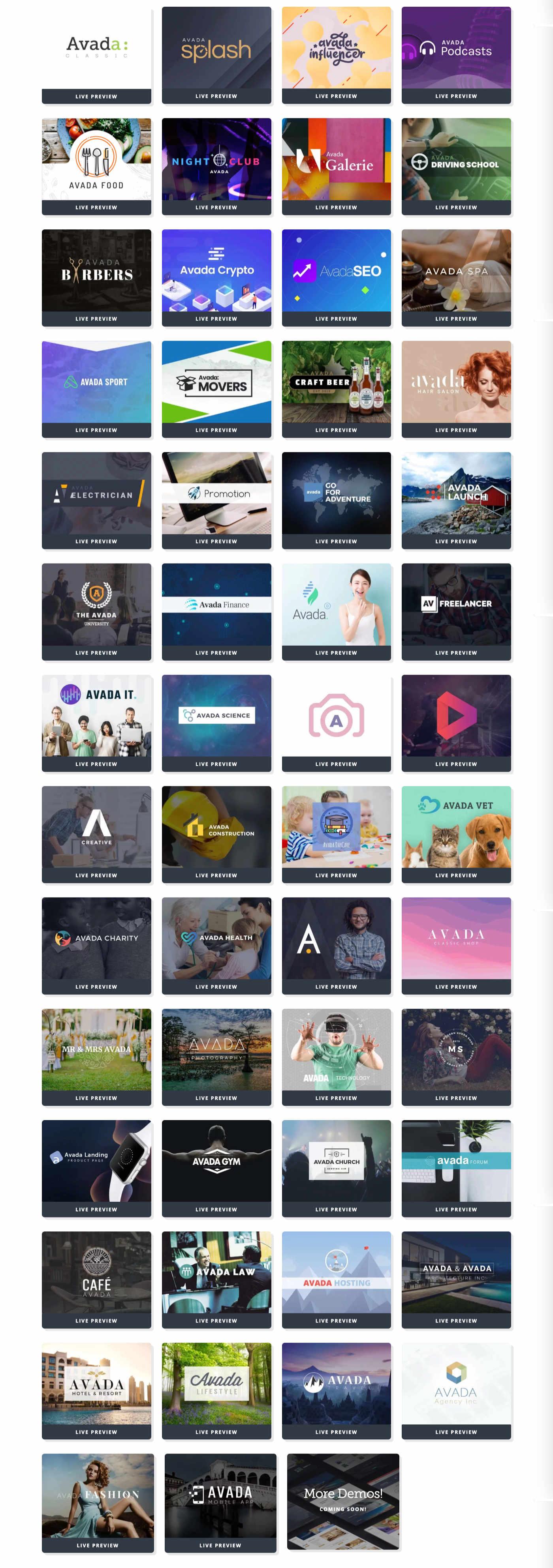 avada prebuild websites 1 Avada Theme auf Deutsch – das Top WordPress-Theme kaufen