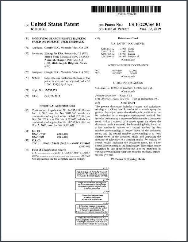 Google Patent US10229166