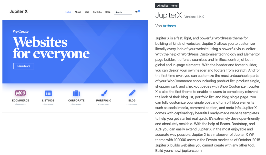 jupiter version Tutorial: Jupiter X auf Deutsch – das beliebte Elementor Theme für WordPress kaufen