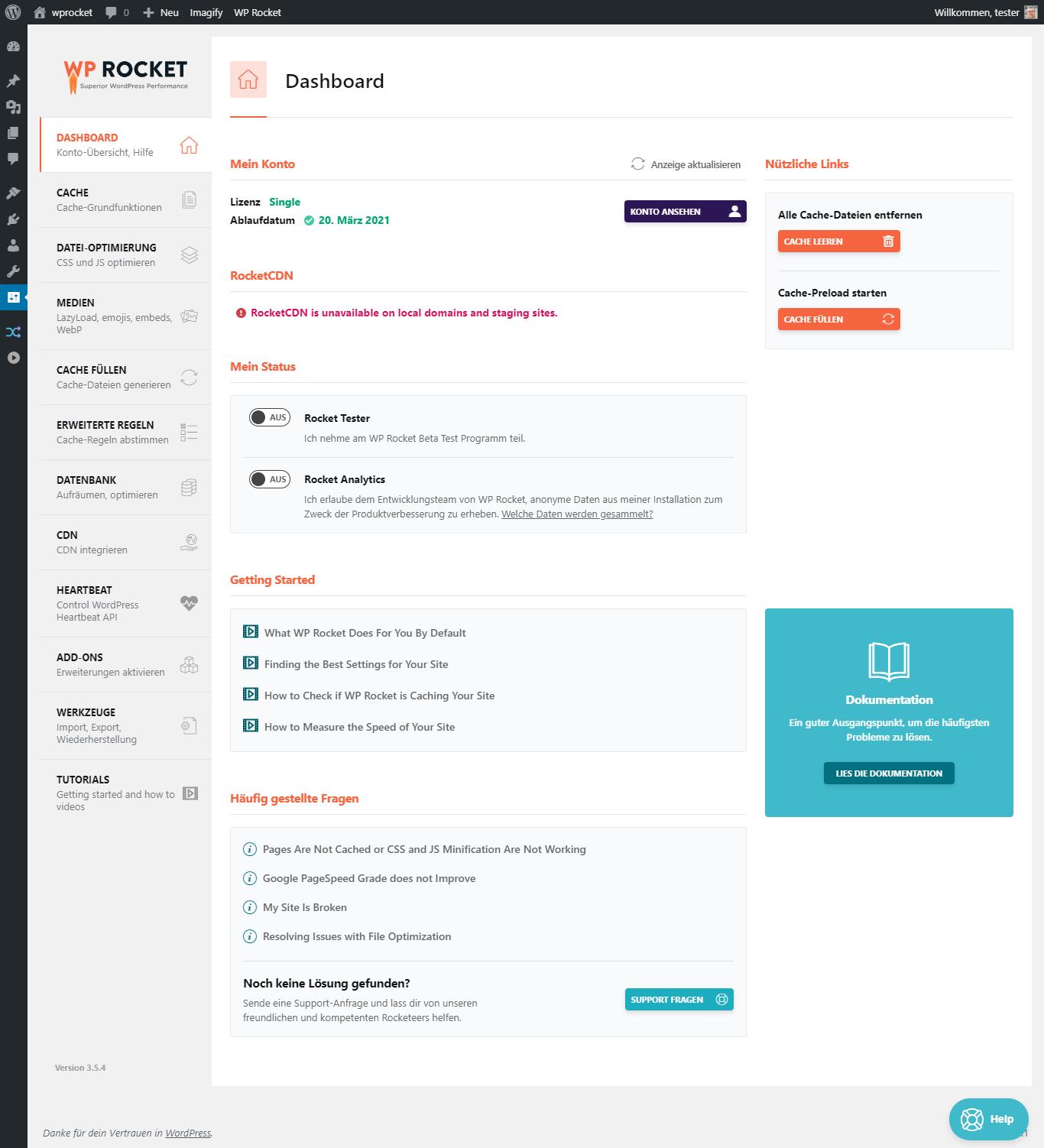 wp rocket 01 dashboard - WP Rocket Review: The fastest WordPress Caching Plugin?