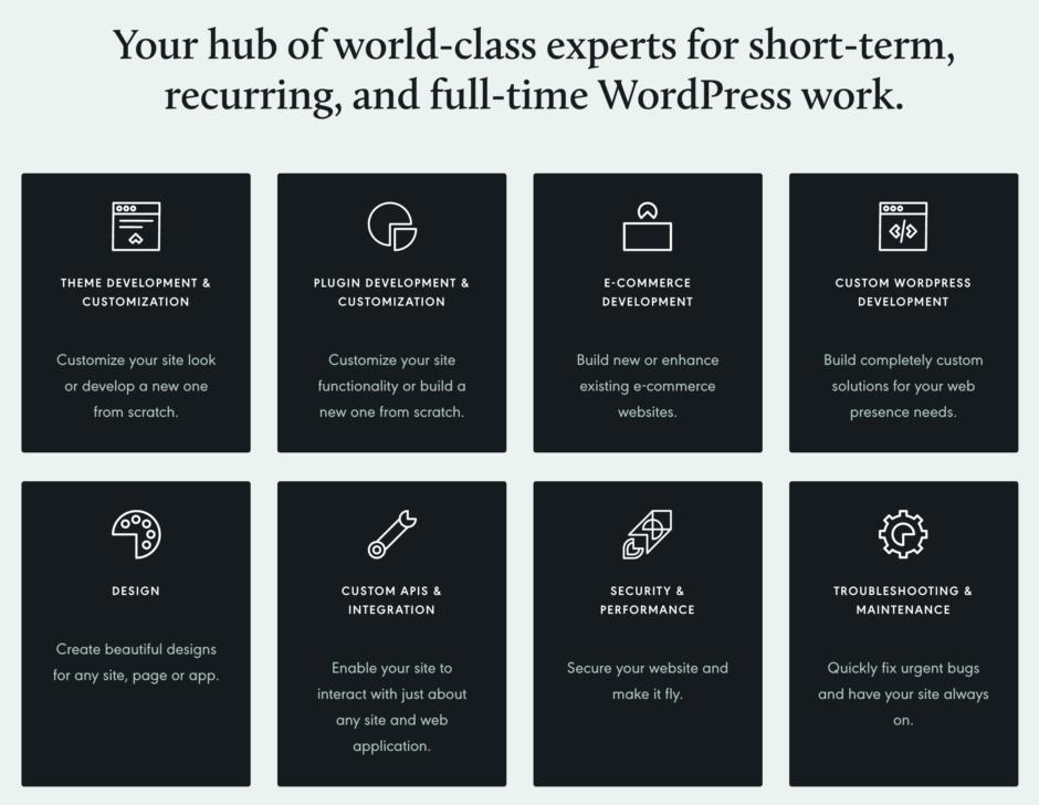 Deine Anlaufstelle für Weltklasse-Experten für kurzfristige, wiederkehrende und Vollzeit-WordPress-Arbeiten.