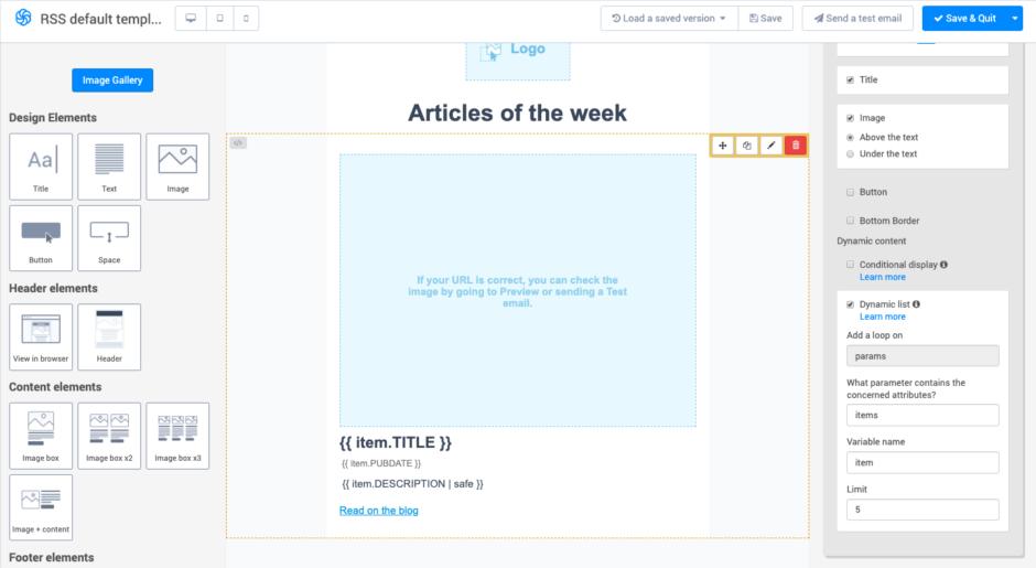 Passe das Template an deinen RSS-Feed an