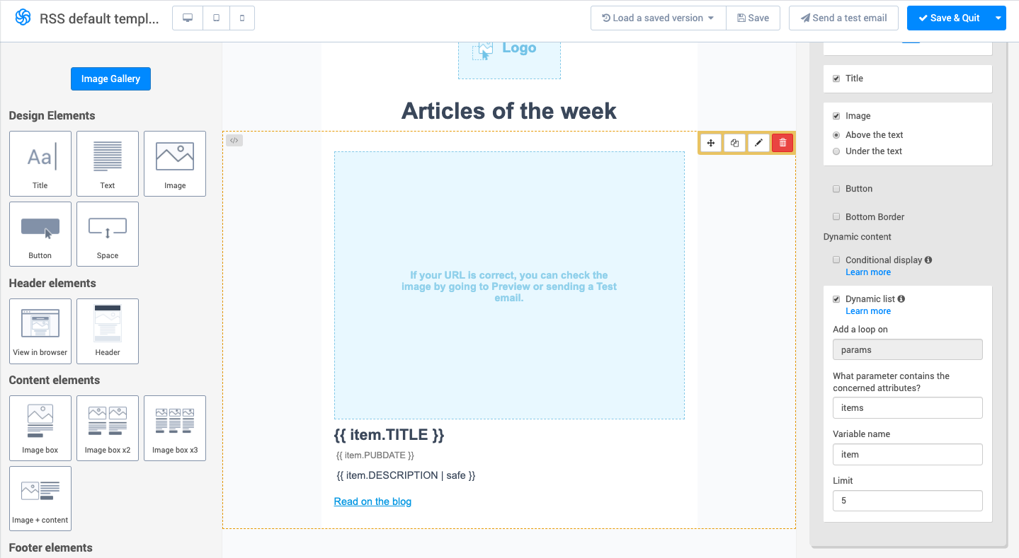 Adapt the template to your RSS feed