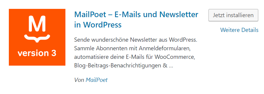 MailPoet im WordPress Plugin Repository
