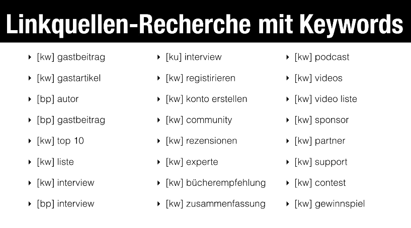 Vorschläge für eine Linkquellen-Recherche mit Keywords: