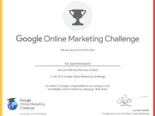 GOMC Zertifikat Google Ad Grants Online Marketing Challenge (OMC)