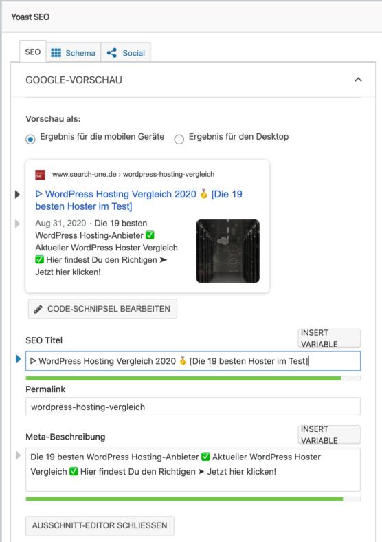 CTR-Optimierung mittels Yoast-SEO-Plugin für Title und Meta-Descriptions