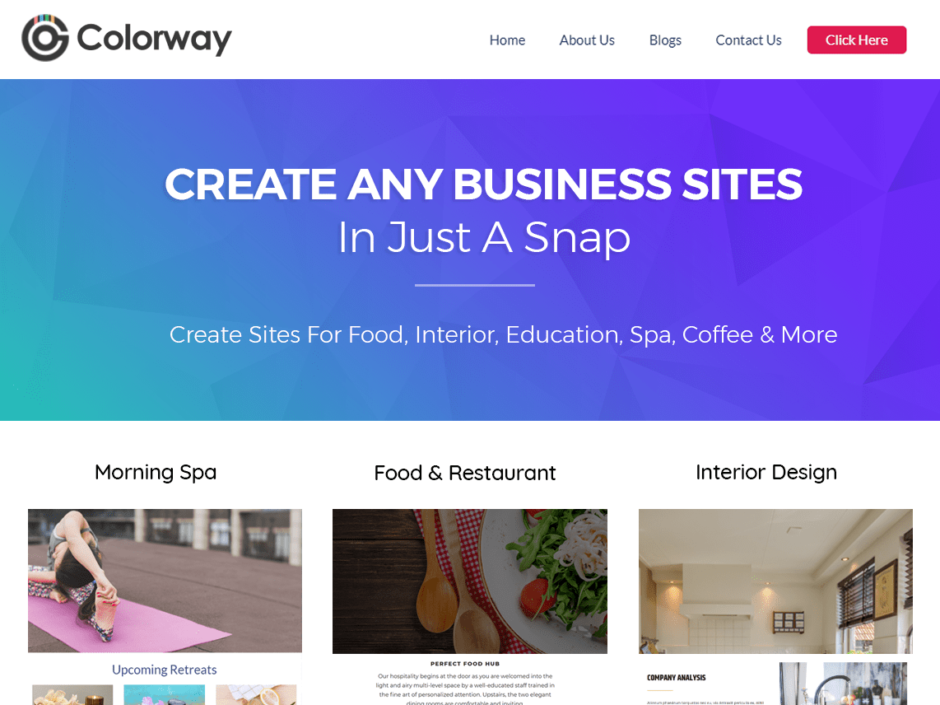 Create any Business Sites in just a snap.