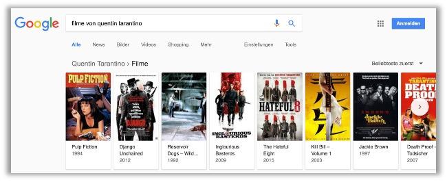 """Abbildung 2: Entitätskarusell bei der Suchanfrage zu """"filme von quentin tarantino"""" am 30.09.2017"""