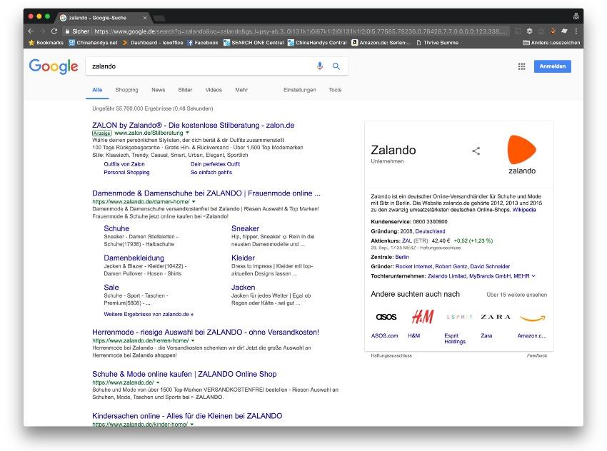 """Abbildung 1: Suchergebnisseite zu """"zalando"""" bei Google Deutschland am 30.09.2017"""