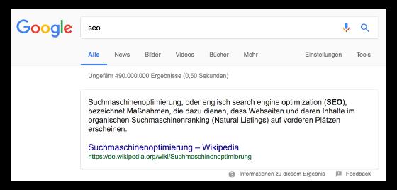 """Abbildung 6: Featured Snippet mit Textauszug aus der Wikipedia Seite """"Suchmaschinenoptimierung"""" zu einer Suchanfrage nach """"seo"""" bei Google am 30.09.2017"""