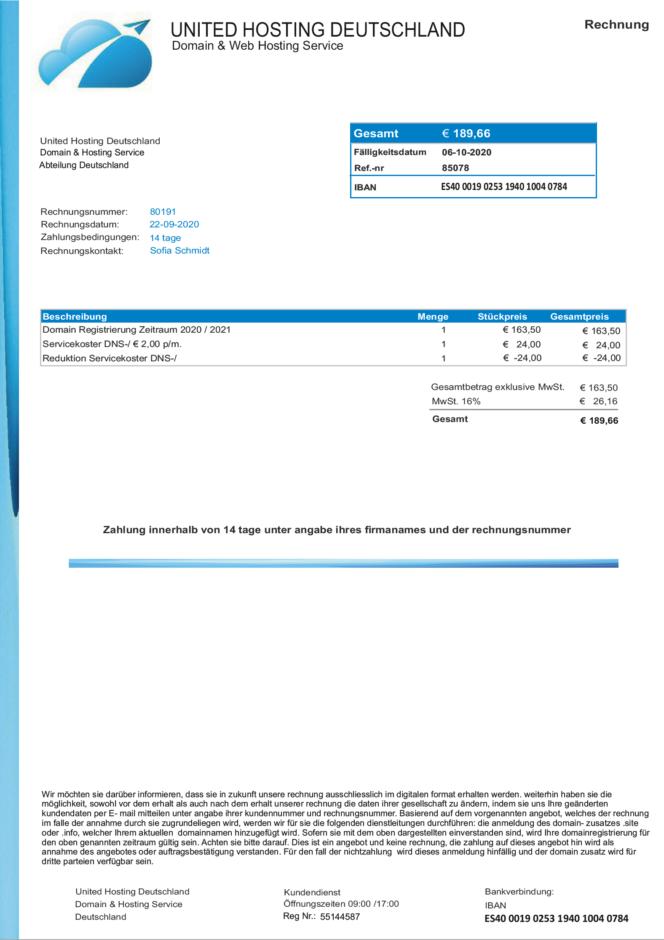 Gefälschte Rechnung von United Hosting Deutschland für Domain Registrierung