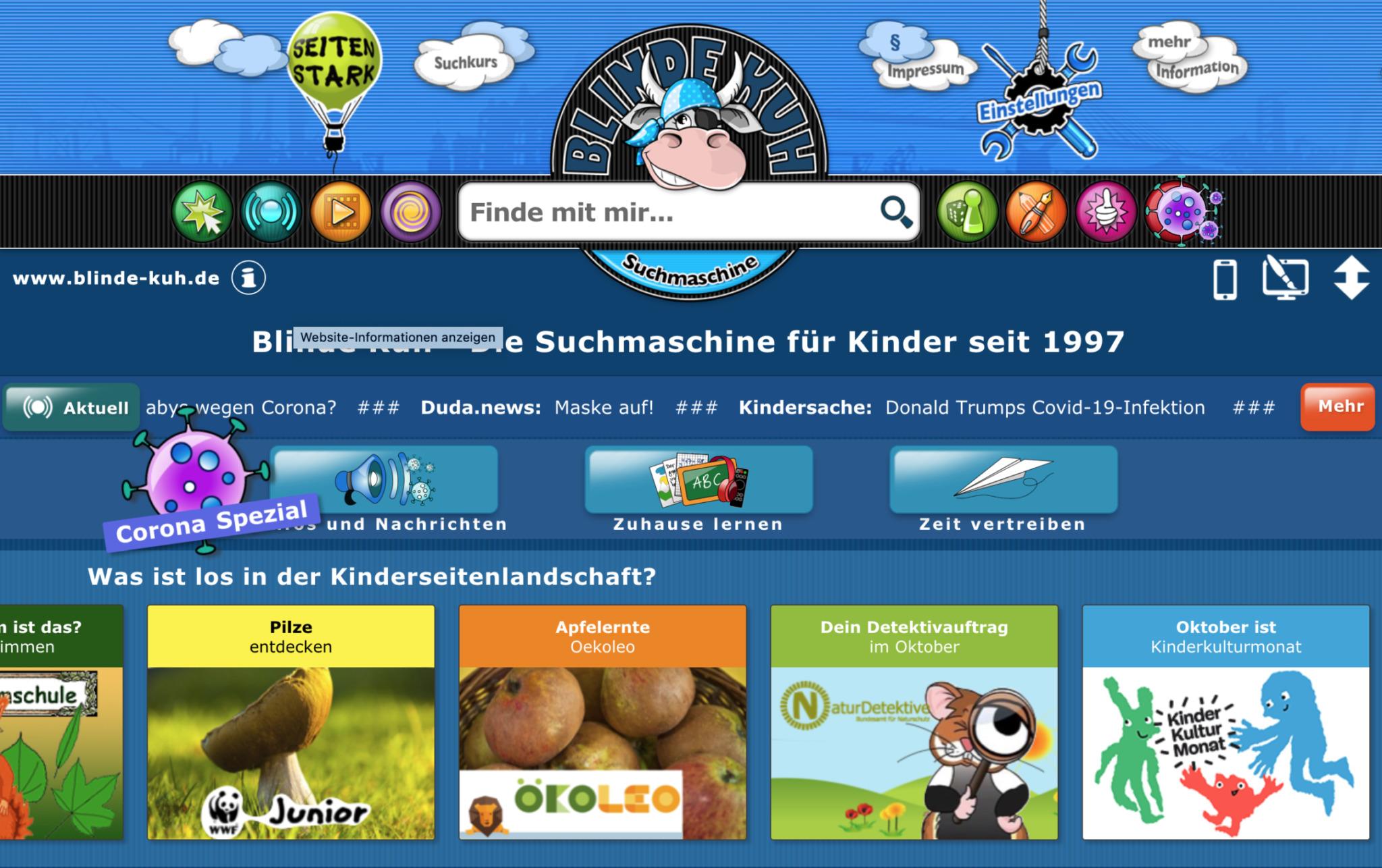 blinde-kuh.de: die älteste Suchmaschine für Kinder