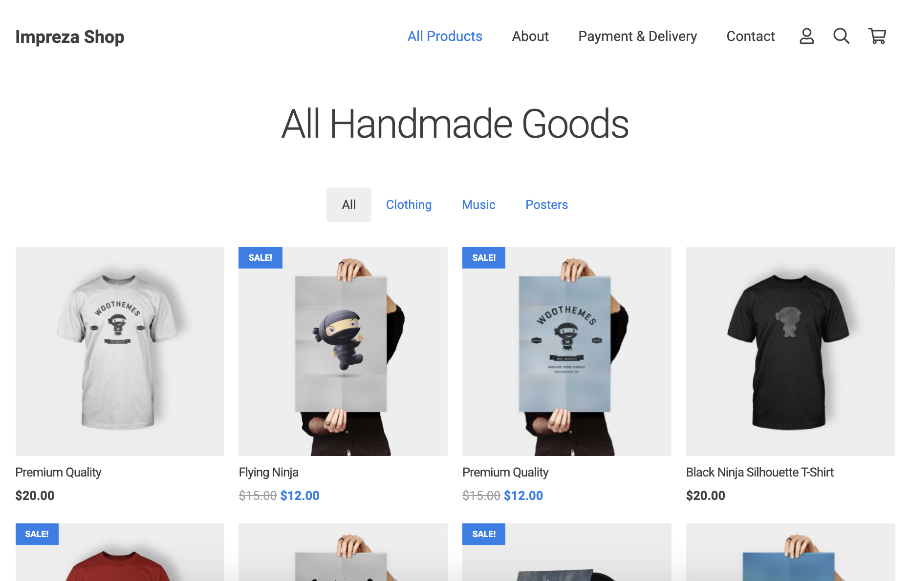Simple Shop mit dem Impreza WooCommerce Theme