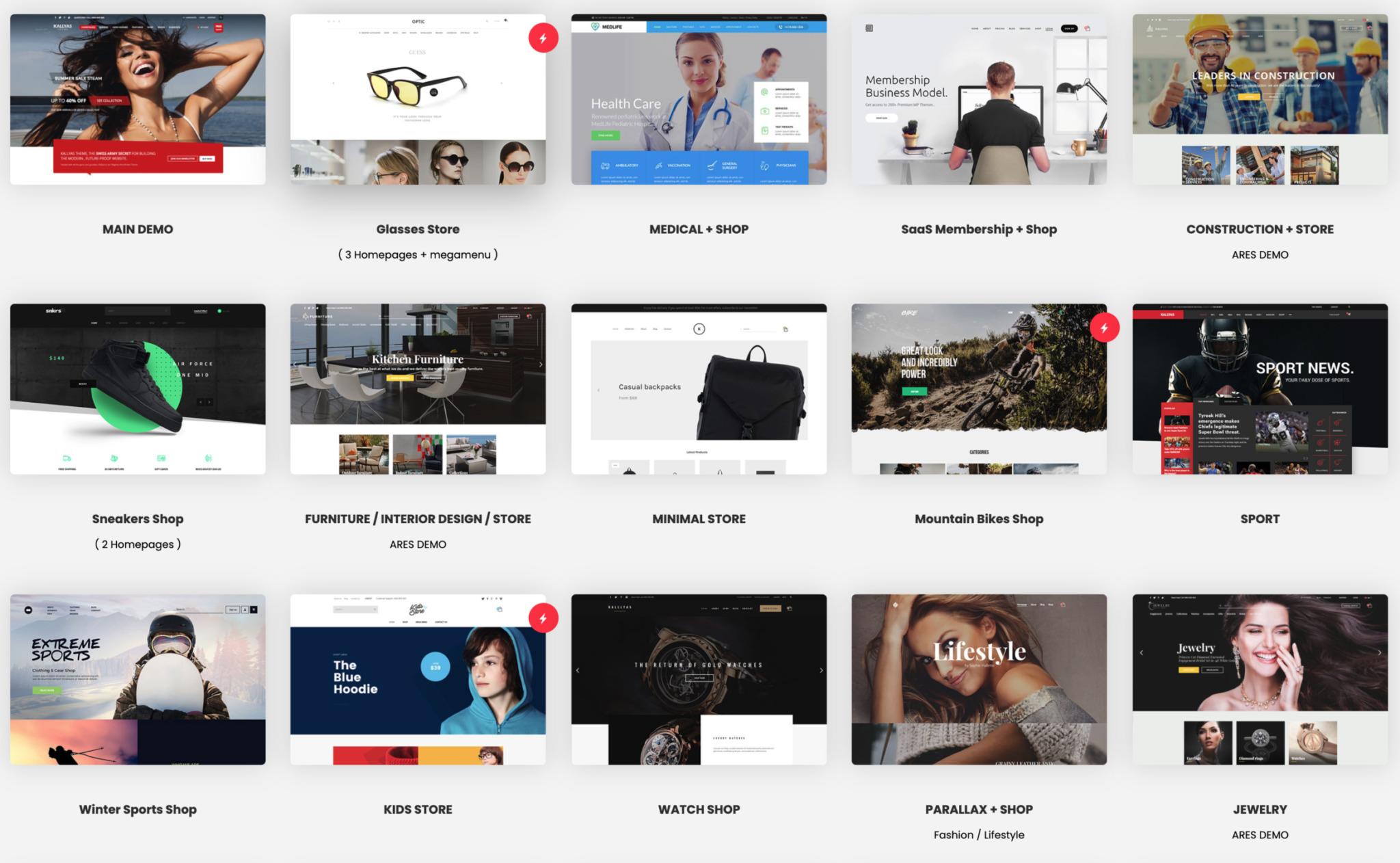Onlineshop Demos von Kallyas mit WooCommerce und WordPress