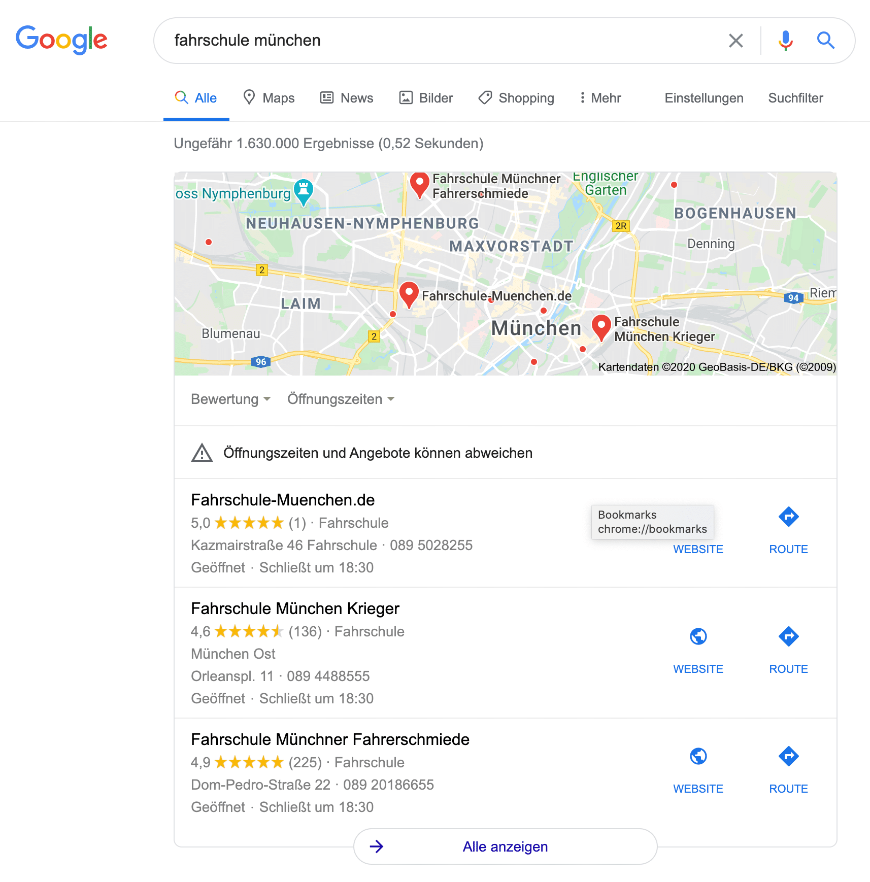 Die lokale Suche in Google wird von Ergebnissen aus Google MyBusiness dominiert