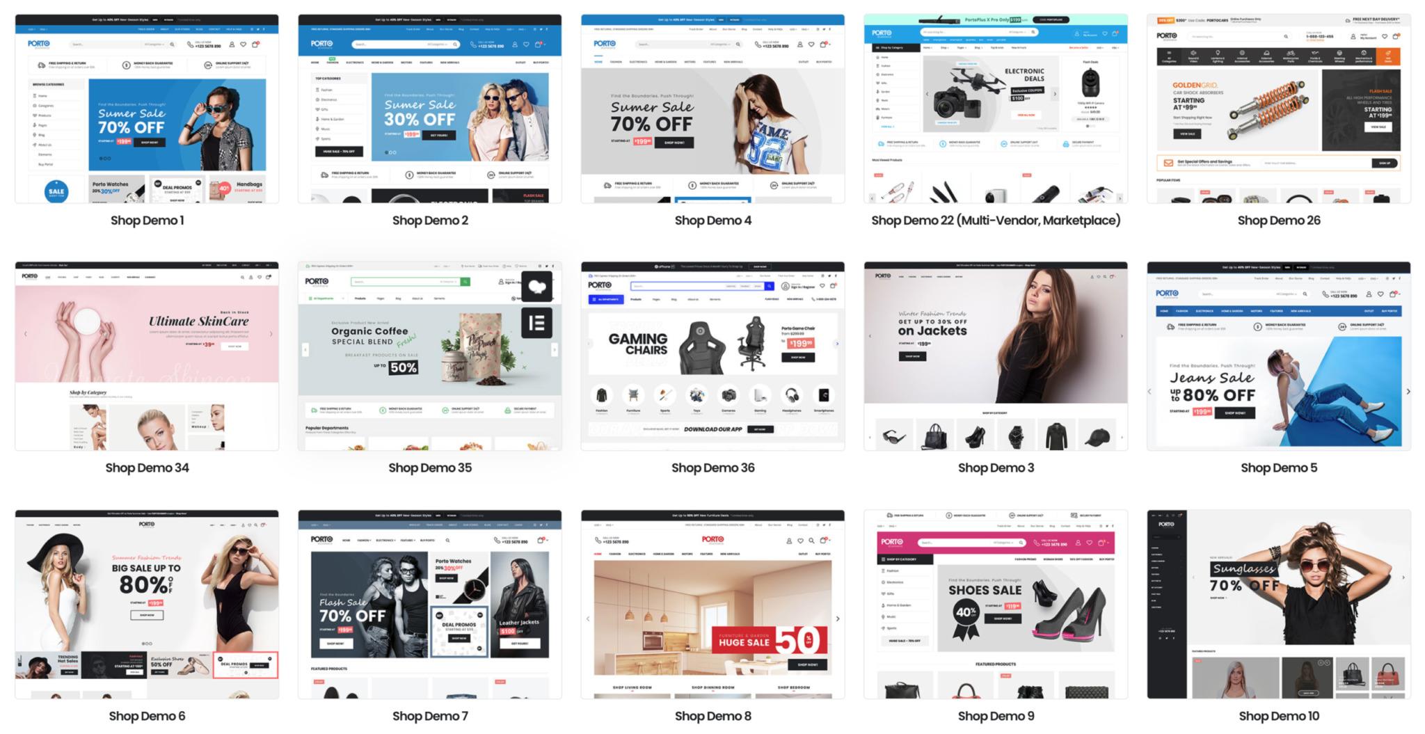 Theme Demos für E-Commerce Seiten und Online Shops mit Porto auf Basis von WooCommerce und WordPress