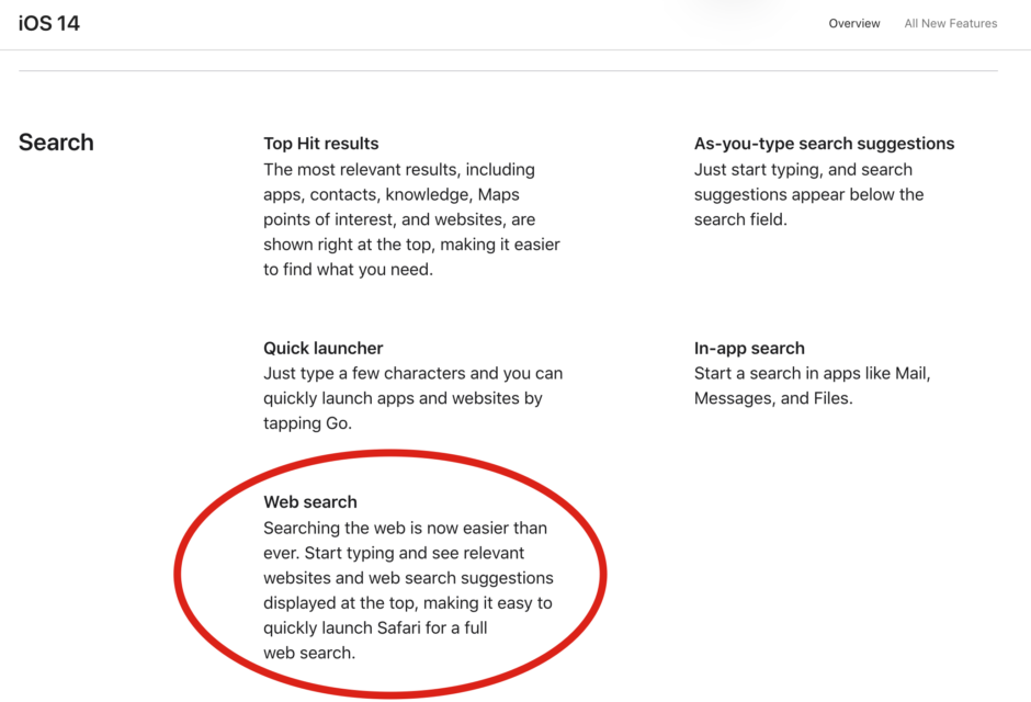 Web search in iOS14