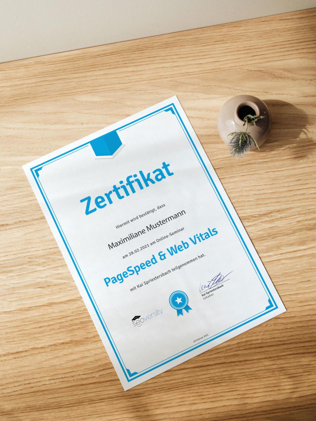 Zertifikat über die Teilnahme am PageSpeed und Web Vitals Online-Seminar