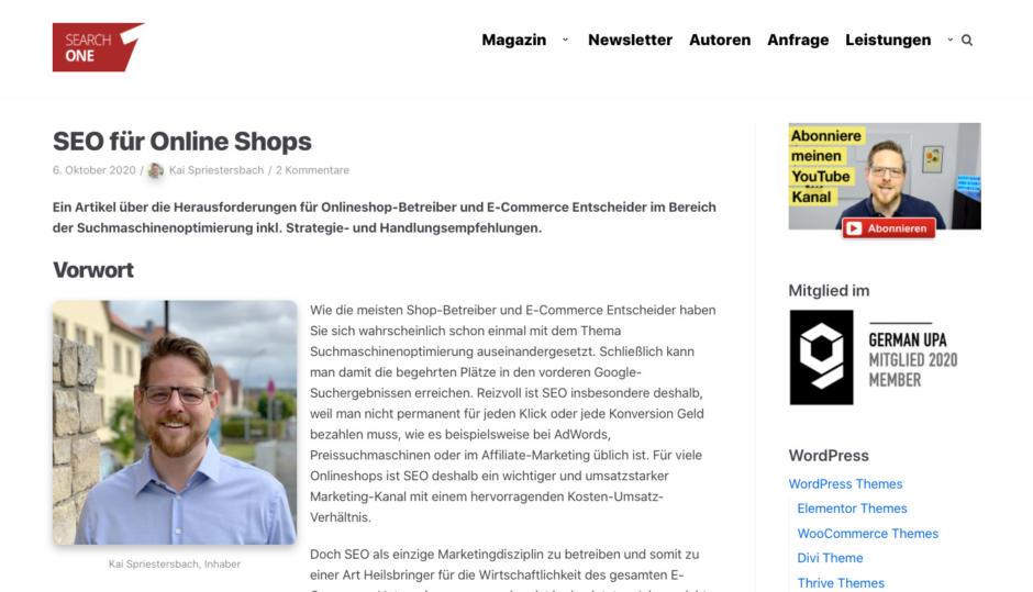 Bespiel Teaser - SEO für Online Shops