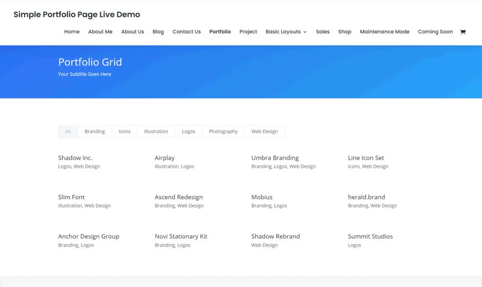 Divi Theme Simple Portfolio Page