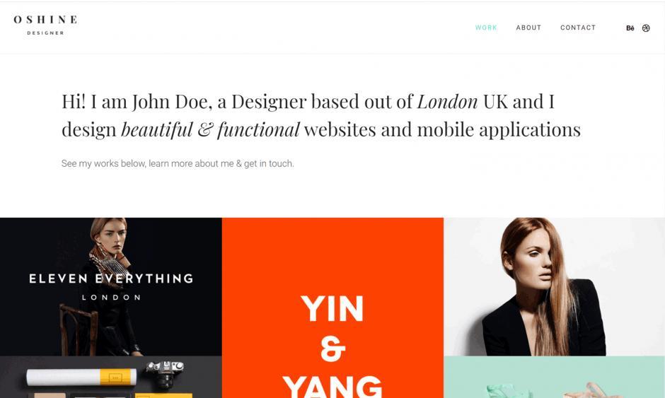 Oshine Theme Designer Portfolio