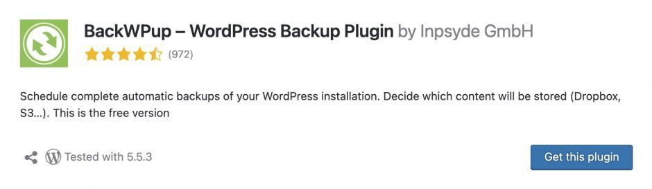 backwpup Meine Lieblings-WordPress-Plugins