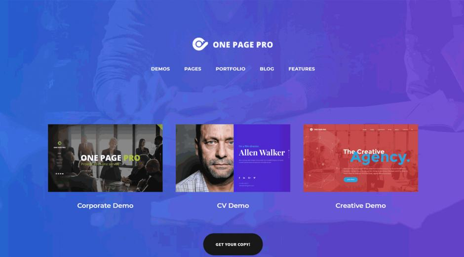 WordPress Theme One Page Pro