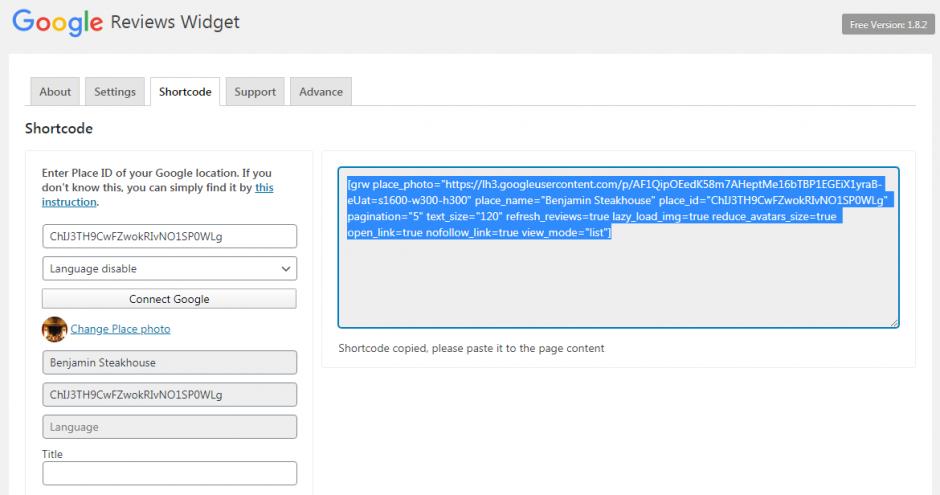 Google Reviews shortcode builder