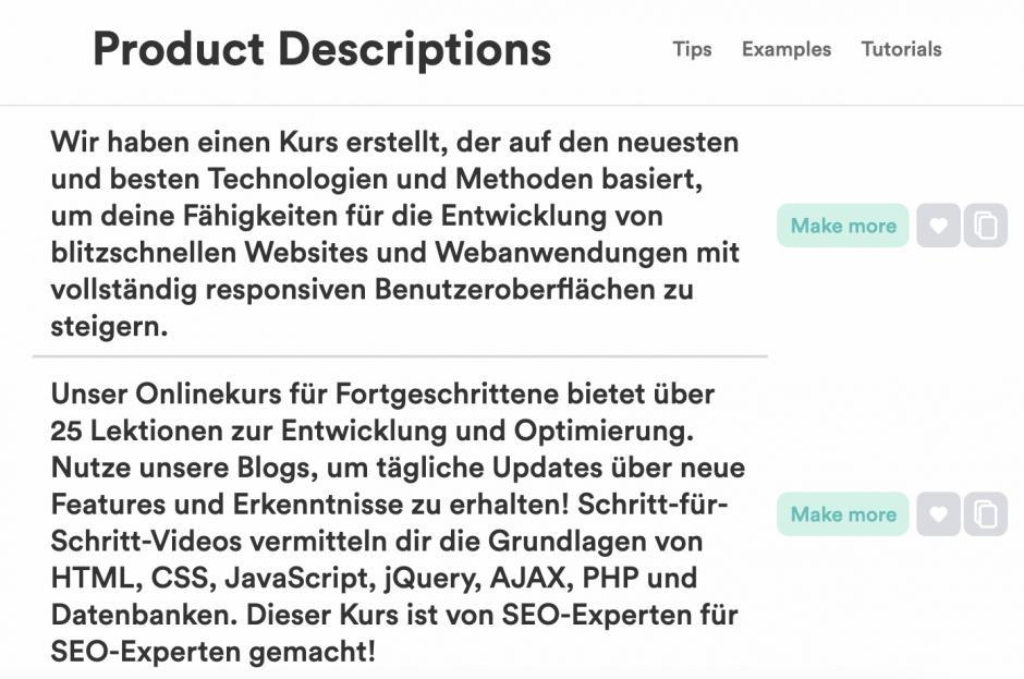 Copy.ai Product Descriptions in Deutsch