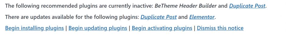Hinweis updates verfügbar WordPress Dashboard