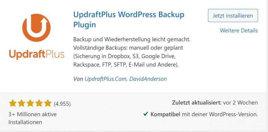 WordPress-Plugin UpdraftPlus