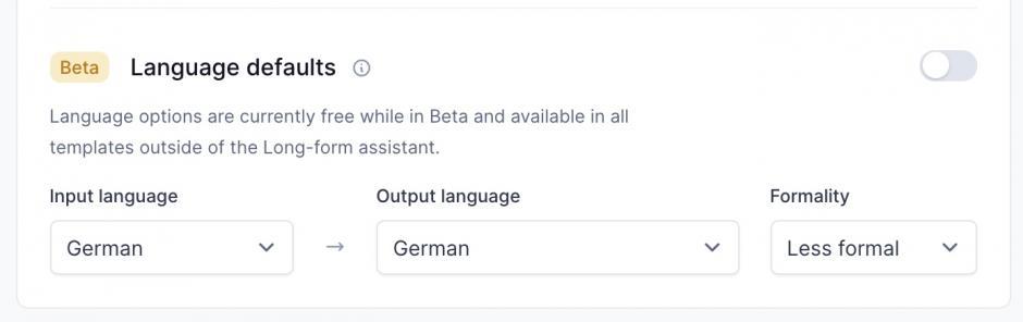Conversion.ai mit Deutsch als Standardsprache.