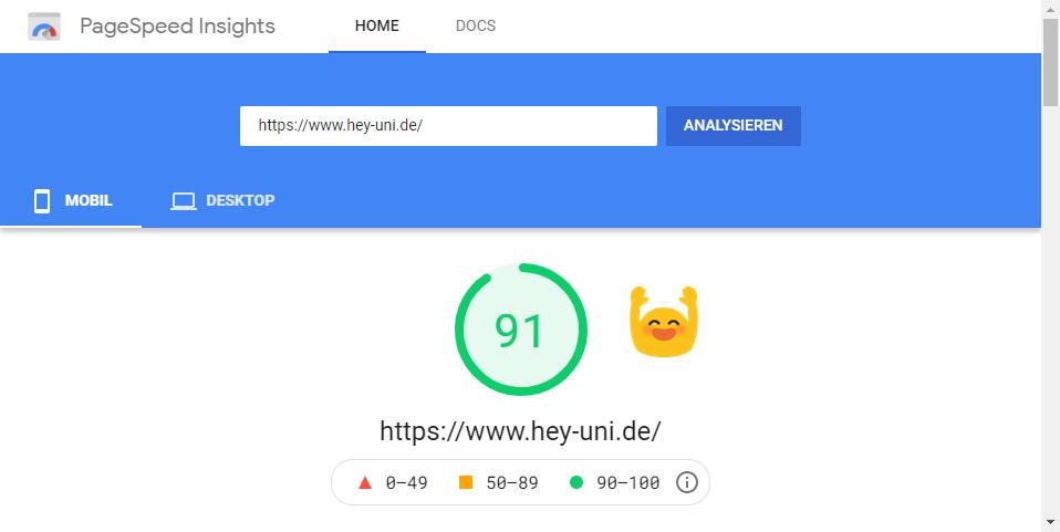 91 Punkte in Googles PageSpeed Insights auf mobilen Endgeräten