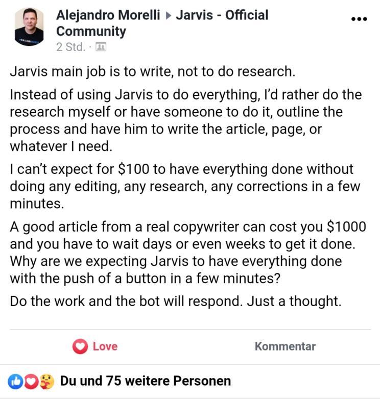 jarvis research Die besten GPT-3-Tools für automatisierte Text- und Snippet-Generierung mittels KI