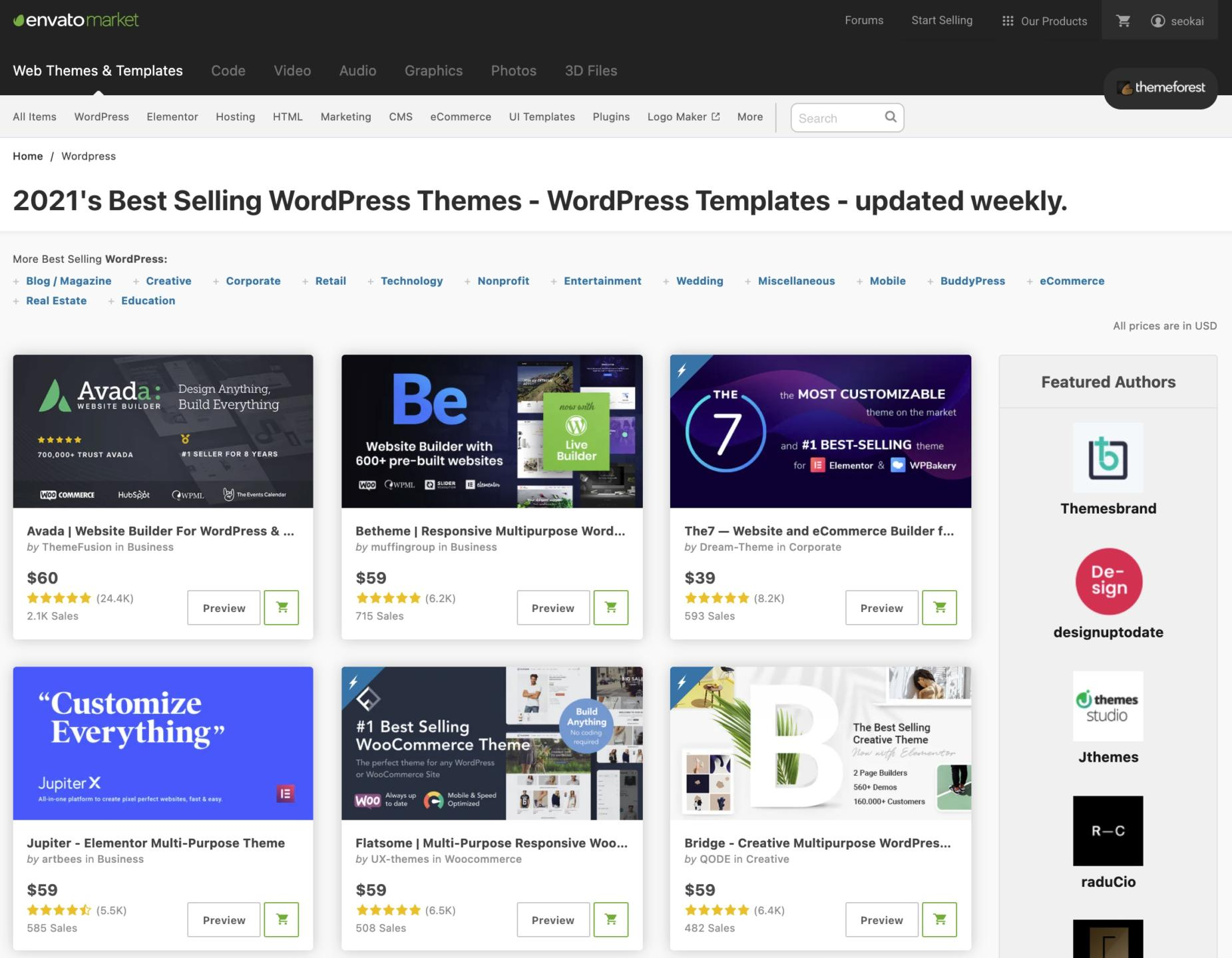 Bei envato market bzw. Themeforest findest du eine Riesenauswahl an WordPress-Themes.