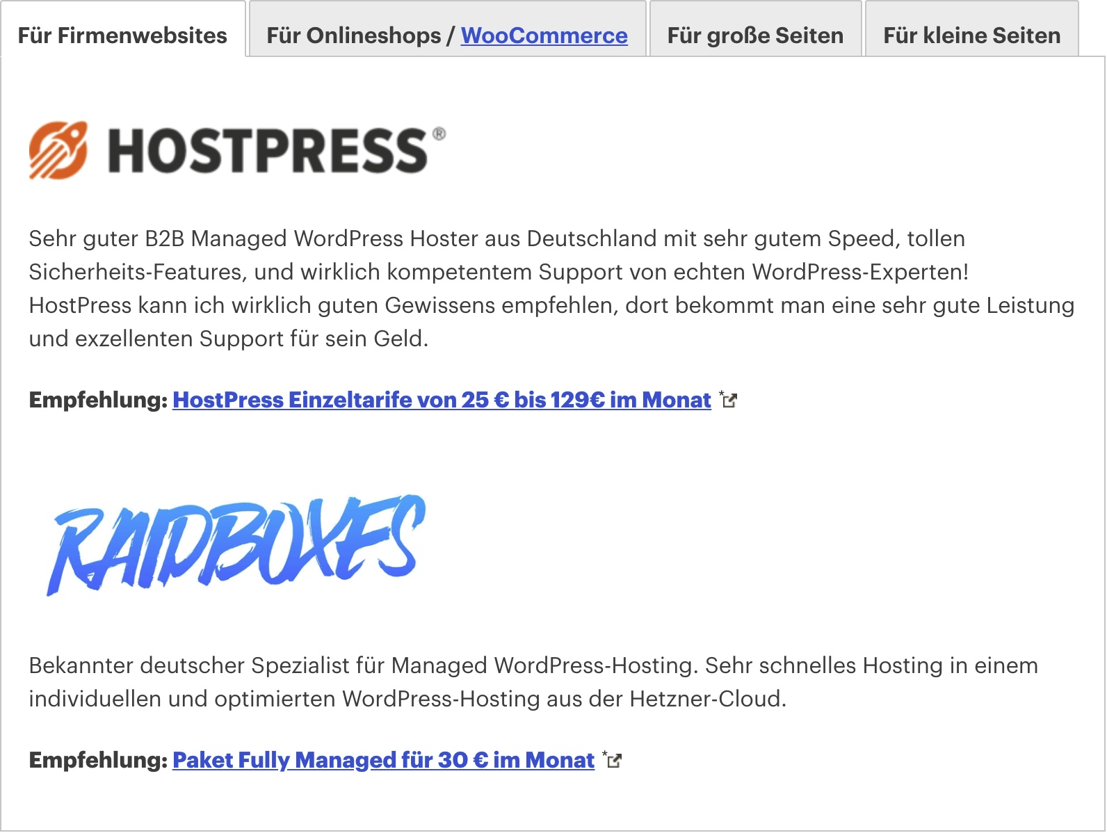 WordPress Hosting Vergleich