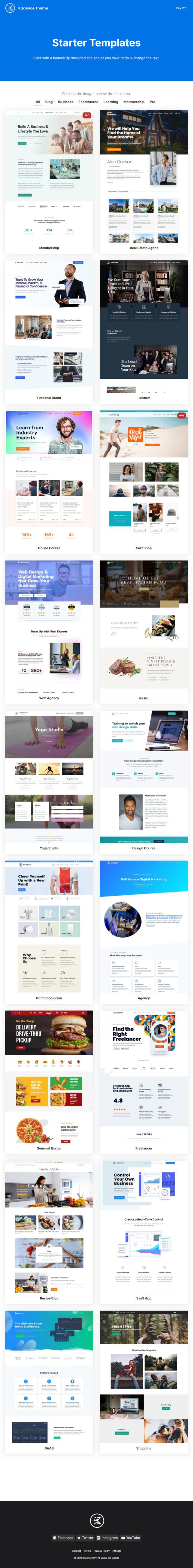 Starter Sites von Kadence WP