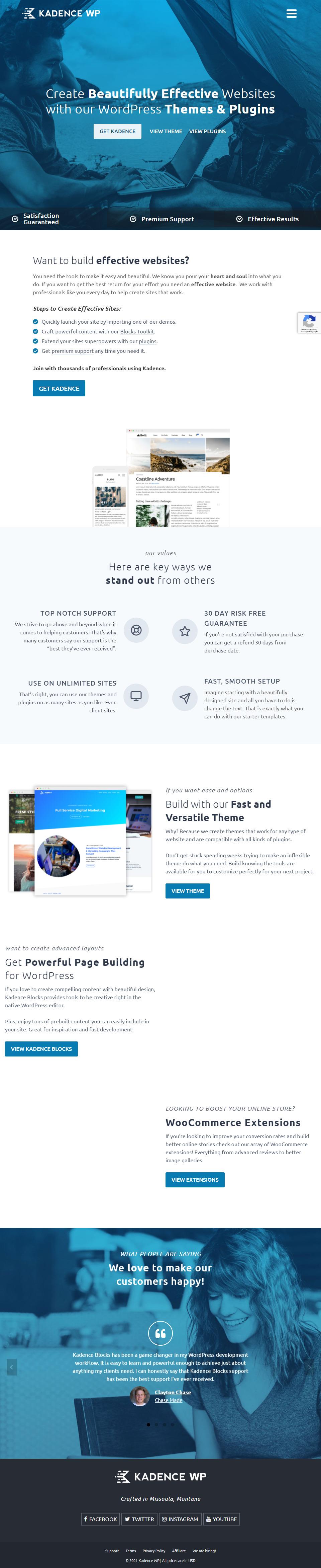 Screenshot Kadence WP Startseite